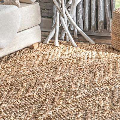 Perla Chevron Jute Natural 8 ft. x 10 ft. Area Rug