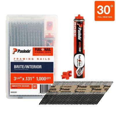 3-1/4 in. x 0.131-Gauge Brite Smooth Shank FUEL + NAIL Combo Pack (1,000 Nails + 1 Fuel Cell)