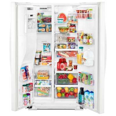 21 cu. ft. Side By Side Refrigerator in White, Counter Depth