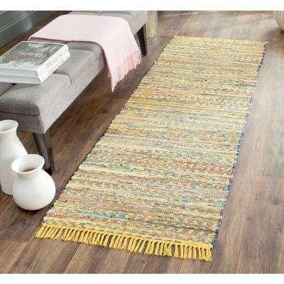 Rag Rug Yellow/Multi 2 ft. x 10 ft. Runner Rug