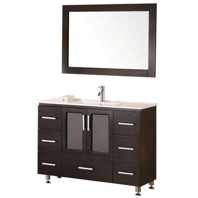 Stanton 48 in. W x 18 in. D Vanity in Espresso with Porcelain Vanity Top and Mirror in White