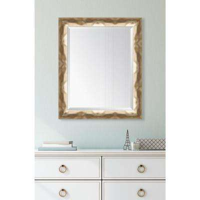28 in. x 34 in. Framed Wide Contemporary Soft Gold Mirror