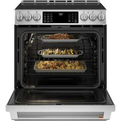 30 in. 5.7 cu. ft. Slide-In Electric Range with Self Cleaning Convection Oven in Stainless Steel