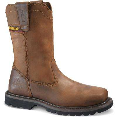 Wellston Men's Dark Brown Steel Toe Work Boots
