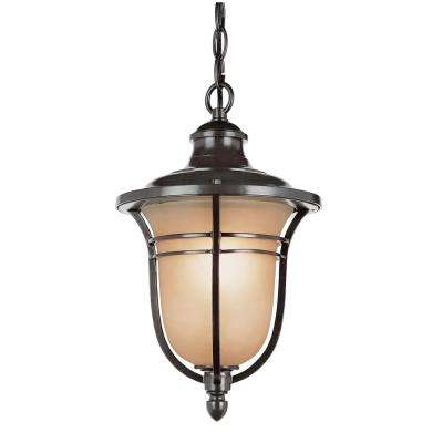 1-Light Rubbed Oil Bronze Outdoor Hanging Lantern