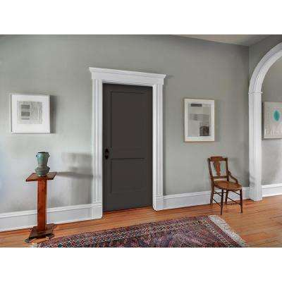 30 in. x 80 in. Monroe Black Painted Right-Hand Smooth Solid Core Molded Composite MDF Single Prehung Interior Door