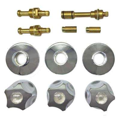 3 Valve Rebuild Kit for Tub and Shower with Chrome Handles for American Brass