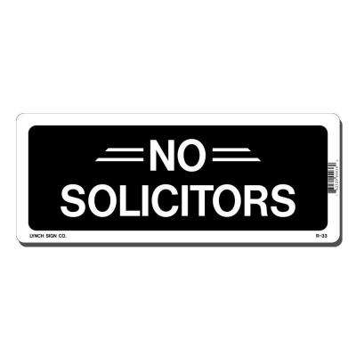 10 in. x 4 in. Black on White Plastic No Solicitors Sign