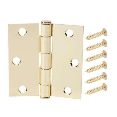 3 in. Satin Brass Square Corner Door Hinge