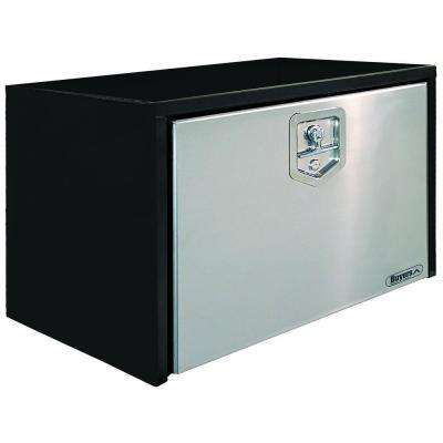 30 in. Black Steel Underbody Tool Box with Polished Stainless Steel Door