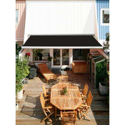 10 ft. Luxury L Series Semi-Cassette Electric with Remote Retractable Patio Awning (8 ft. Projection) in Black