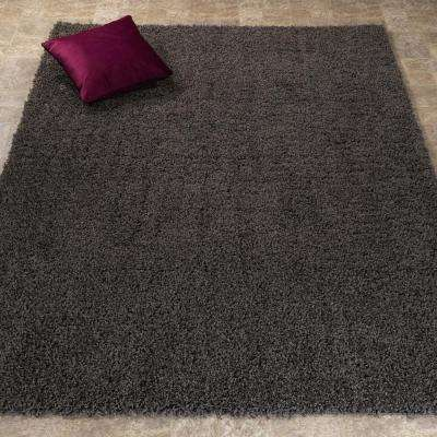 Contemporary Solid Dark Grey 8 ft. x 10 ft. Shag Area Rug
