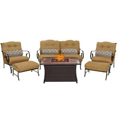 Oceana 6-Piece Patio Seating Set with Wood Grain-Top Fire Pit and Country Cork Cushions