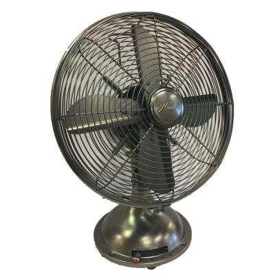 Retro 12 in. 3 Speed Oscillating Onyx Copper Personal Table Fan