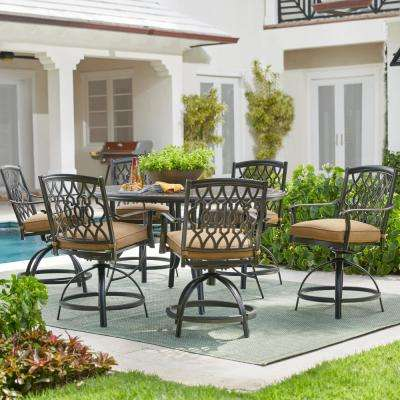 Ridge Falls 7-Piece Dark Brown Aluminum Outdoor Patio Dining Set with Sunbrella Canvas Cork Tan Cushions