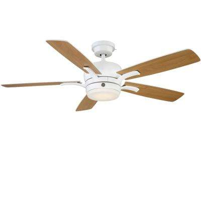 Adley 54 in. LED Indoor White Ceiling Fan with SkyPlug Technology