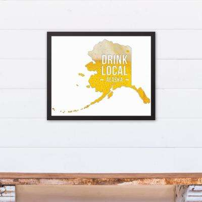"20 in. x 16 in. ""Alaska Drink Local Beer  "" Printed Framed Canvas Wall Art"