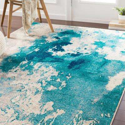 Sora Teal 2 ft. 2 in. x 7 ft. 6 in. Abstract Runner Rug