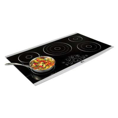 36 in. Radiant Electric Cooktop in Stainless Steel with 6 Elements