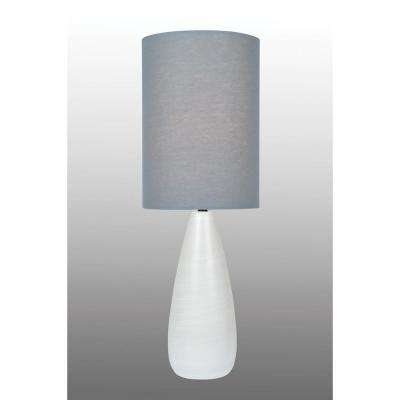 26.25 in. Brushed White Table Lamp with Grey Linen Shade