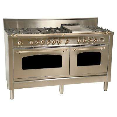 60 in. 6 cu. ft. Double Oven Dual Fuel Italian Range True Convection,8 Burners, LP Gas, Bronze Trim/Stainless Steel