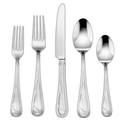 Cacile Collection 45-Piece Flatware Set in Silver