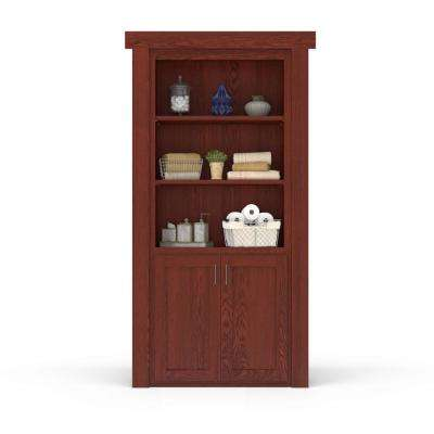 32 in. x 80 in. Flush Mount Assembled Laundry Door Oak Cherry Stained Right-Hand Outswing