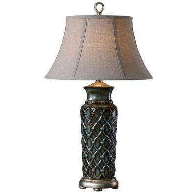 31 in. Burnished Blue Table Lamp