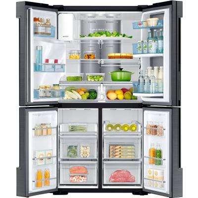 22.1 cu. ft. 4-Door Food Showcase French Door Refrigerator in Fingerprint Resistant Black Stainless Steel, Counter Depth