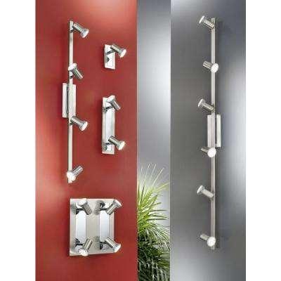 Rottelo 4-Light Matte Nickel and Chrome Ceiling Flush Mount