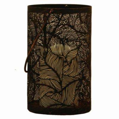 Panama 8 in. Metal Cylinder Lantern with Flowing Leaves Pattern in Antique Black Finish