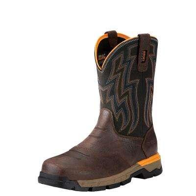 Men's Chocolate Brown Rebar Flex Western Pull On Work Boot