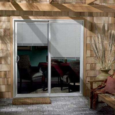 60 in. x 80 in. V-4500 White Vinyl Left-Hand Full Lite Sliding Patio Door w/Internal Blinds