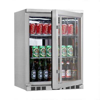 Single Zone 23.4 in. 140 (12 oz.) Single-Door Stainless Steel Beverage Can Cooler