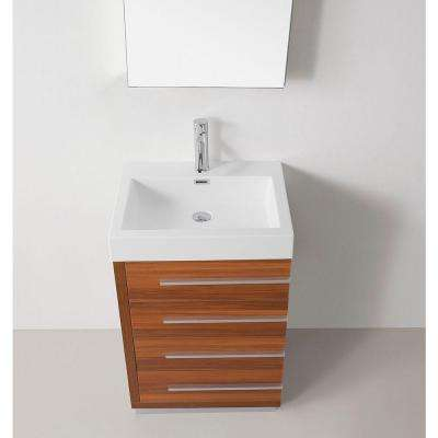 Bailey 24 in. W Bath Vanity in Plum with Polymarble Vanity Top in White Polymarble with Square Basin