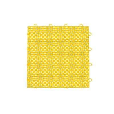 Armadillo Tile Bright Yellow 12 in. x 12 in. Polypropylene Interlocking Multipurpose Floor Tile (9-Pack)
