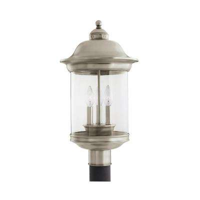 Hermitage 3-Light Outdoor Antique Brushed Nickel Post Light