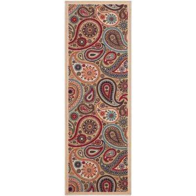 Contemporary Paisley Design Beige 2 ft. 7 in. x 9 ft. 10 in. Non-Skid Rug Runner