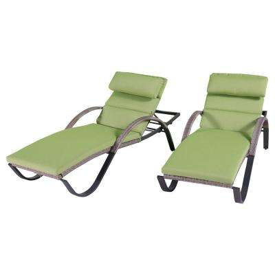 Cannes Patio Chaise Lounges with Ginkgo Green Cushions (2-Pack)