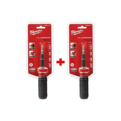 11-in-1 Multi-Tip Screwdriver with Square Bits (2-Piece)