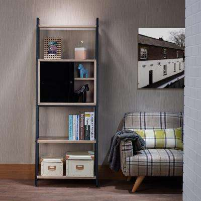 Finis Leaning Bookcase, Light Oak and Black