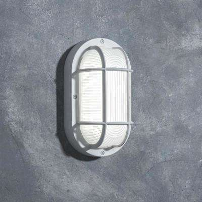Coastal San Diego White Outdoor Integrated LED Bulkhead Wall Lantern