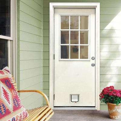 32 in. x 80 in. Classic Clear 9 Lite RHOS White Primed Fiberglass Prehung Front Door with Small Cat Door