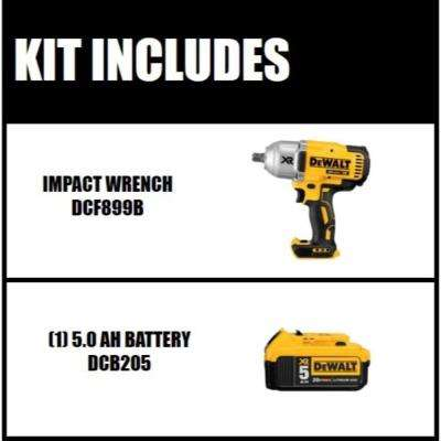 20-Volt MAX XR Lithium-Ion Cordless 1/2 in. Impact Wrench Kit with Detent Pin Anvil (Tool-Only) with Free Battery 5Ah