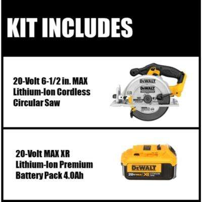 20-Volt 6-1/2 in. MAX Lithium Ion Cordless Circular Saw (Tool-Only) with Free 20-Volt Lithium Ion Battery Pack 4.0Ah