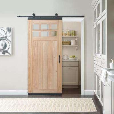 36 in. x 80 in. DesignGlide Farmhouse Unfinished Solid Wood 6-Lite Obscure Glass Sliding Barn Door & Black Hardware Kit