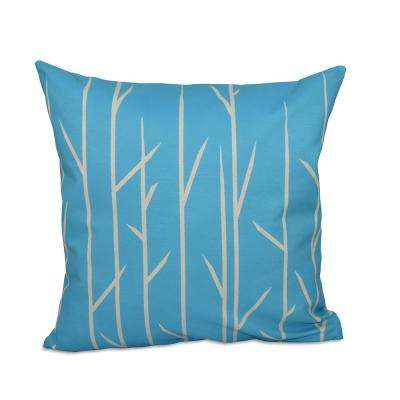 16 in. x 16 in. Floral Decorative Pillow in Turquoise
