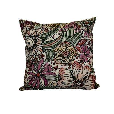 16 in. x 16 in. Zentangle Floral, Floral Print Pillow, Purple