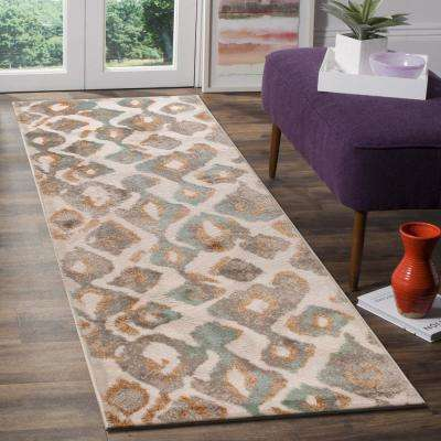 Tranquility Abstract Fungi / Dark Beige 2 ft. x 7 ft. Indoor Runner Rug