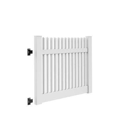Yukon Straight 5 ft. W x 4 ft. H White Vinyl Un-Assembled Fence Gate